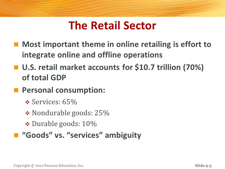 The Retail Sector Most important theme in online retailing is effort to integrate online and offline operations U.S. retail market accounts for $10.7