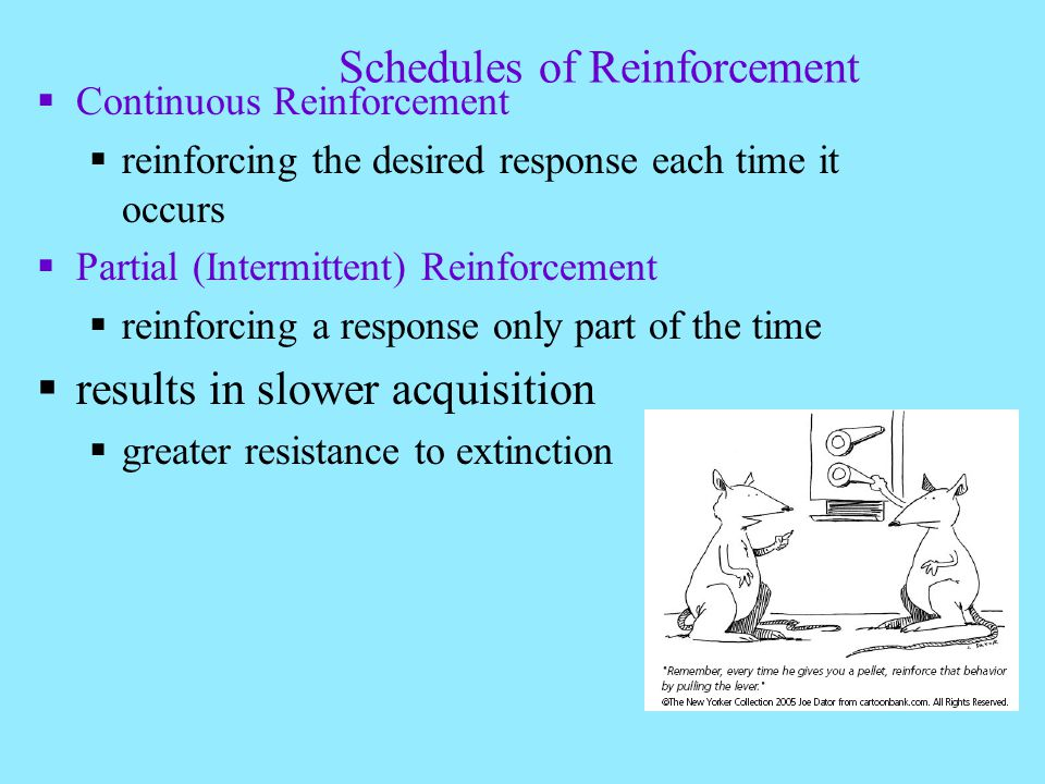 Schedules of Reinforcement Continuous Reinforcement reinforcing the desired response each time it occurs Partial (Intermittent) Reinforcement reinforcing a response only part of the time results in slower acquisition greater resistance to extinction