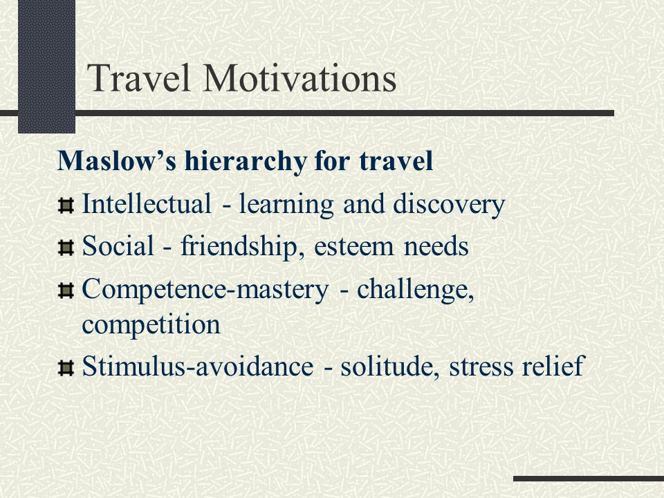 Travel Motivations Maslows hierarchy for travel Intellectual - learning and discovery Social - friendship, esteem needs Competence-mastery - challenge, competition Stimulus-avoidance - solitude, stress relief