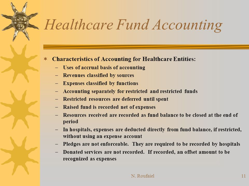 N. Roufaiel10 Healthcare Fund Accounting Audits of all healthcare providers should follow GAAP except when such principles are not applicable: –Clinic