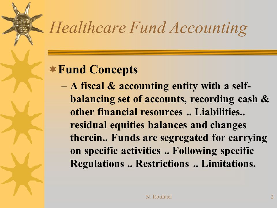 N. Roufaiel1 Healthcare Fund Accounting Funds Accounting Concept Funds Groups Characteristics of Fund Groups Revenue Recognition and Classifications E