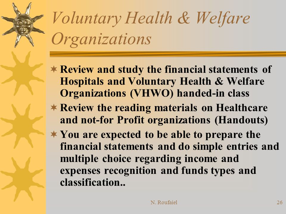 N. Roufaiel25 Voluntary Health & Welfare Organizations Use Audit Guide by AICPA.