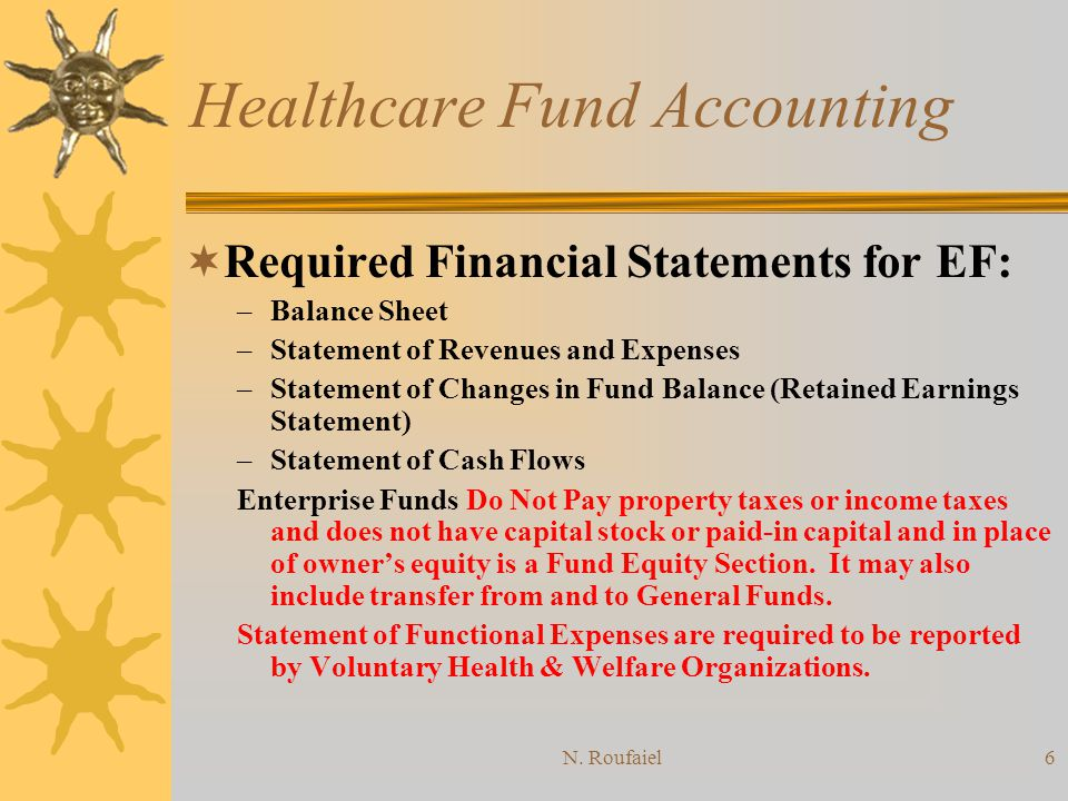 N. Roufaiel5 Healthcare Fund Accounting Proprietary Funds: Non-for-profit Hospitals and Voluntary Health and Welfare Organizations follow this group o