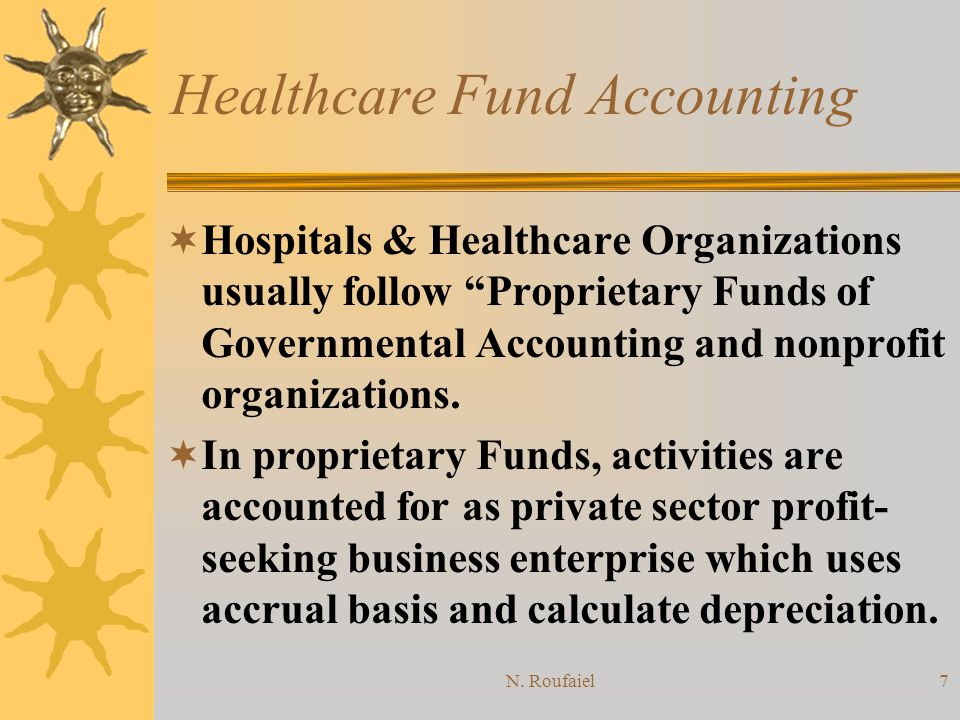 N. Roufaiel6 Healthcare Fund Accounting Required Financial Statements for EF: –Balance Sheet –Statement of Revenues and Expenses –Statement of Changes