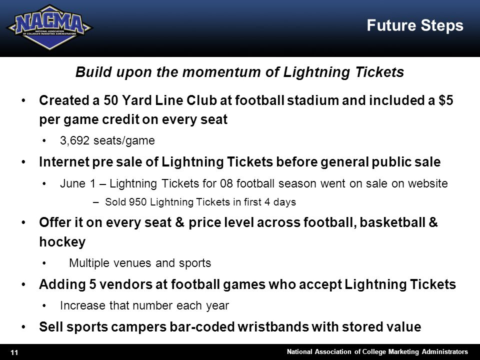 11 National Association of College Marketing Administrators Future Steps Build upon the momentum of Lightning Tickets Created a 50 Yard Line Club at f