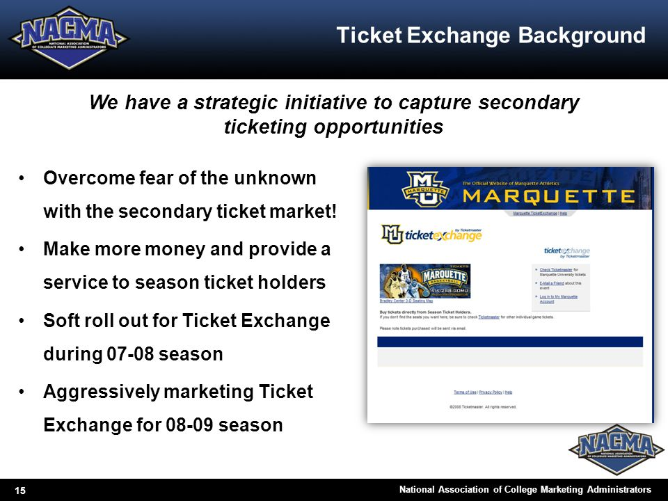 15 National Association of College Marketing Administrators Ticket Exchange Background Overcome fear of the unknown with the secondary ticket market!