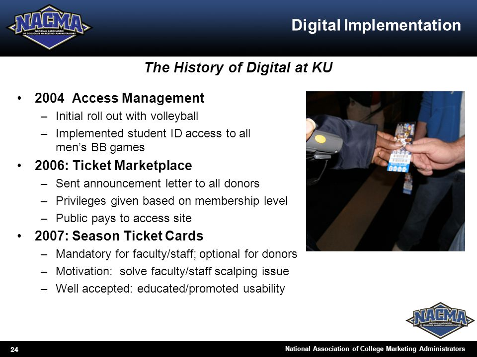 24 National Association of College Marketing Administrators Digital Implementation 2004 Access Management –Initial roll out with volleyball –Implement