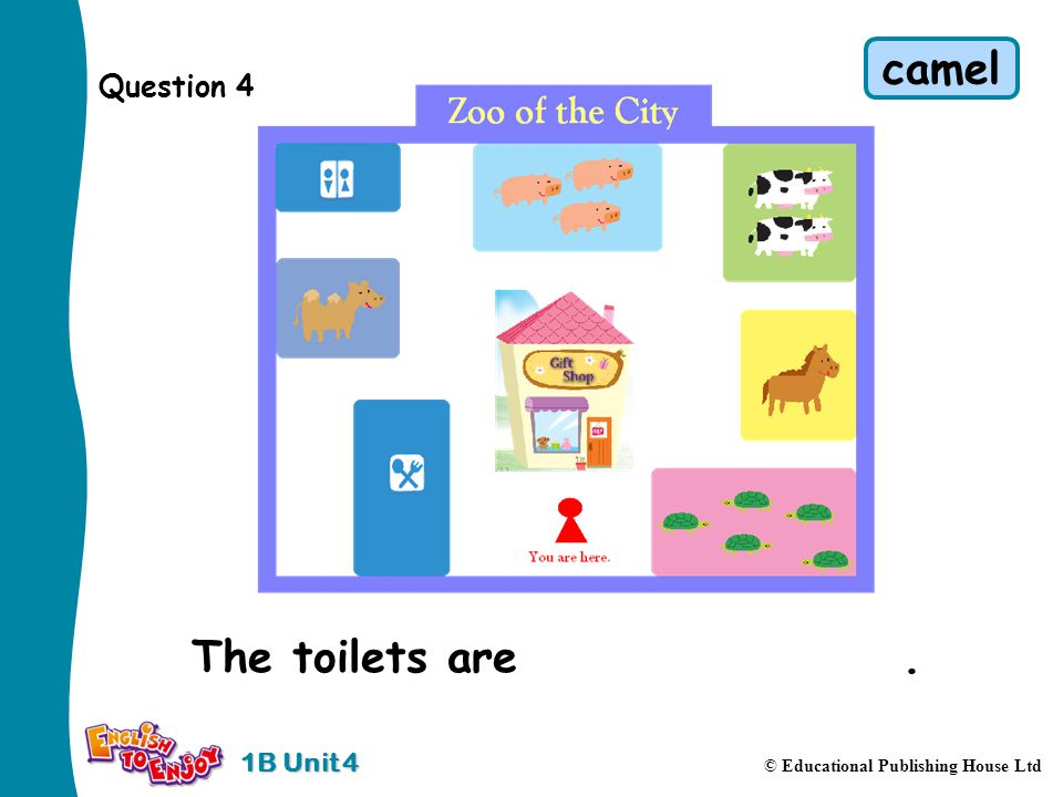 1B Unit 4 © Educational Publishing House Ltd Question 4 The toilets are behind the camel. camel