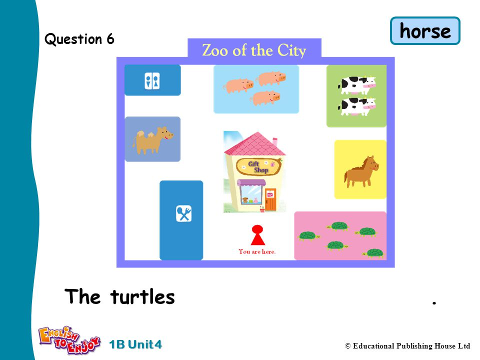 1B Unit 4 © Educational Publishing House Ltd Question 6 The turtles are in front of the horse.