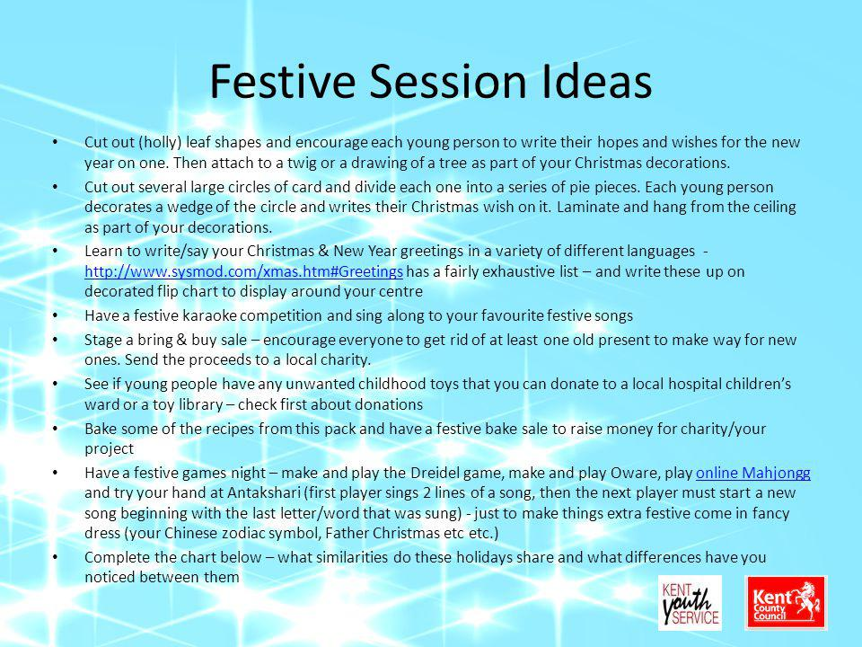 Festive Session Ideas Cut out (holly) leaf shapes and encourage each young person to write their hopes and wishes for the new year on one. Then attach