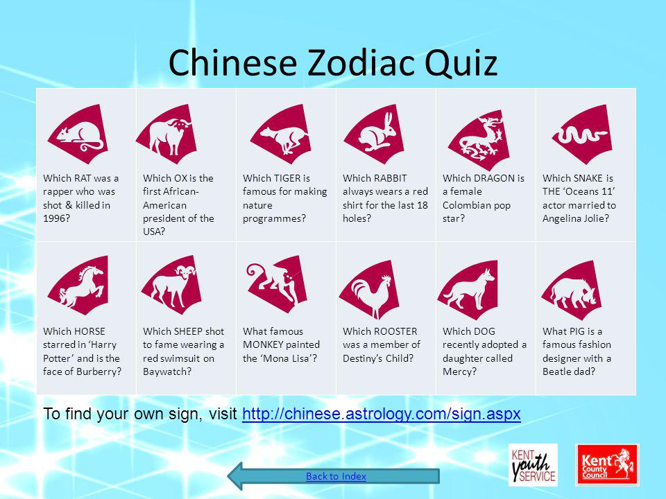 Chinese Zodiac Quiz Which RAT was a rapper who was shot & killed in 1996? Which OX is the first African- American president of the USA? Which TIGER is