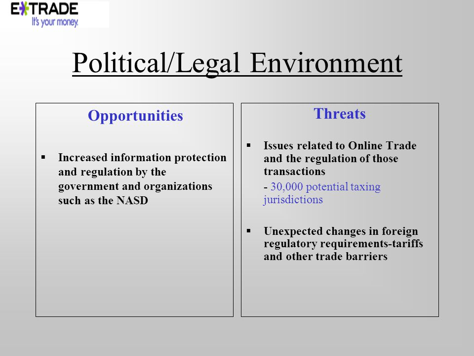 Political/Legal Environment Opportunities Increased information protection and regulation by the government and organizations such as the NASD Threats Issues related to Online Trade and the regulation of those transactions - 30,000 potential taxing jurisdictions Unexpected changes in foreign regulatory requirements-tariffs and other trade barriers