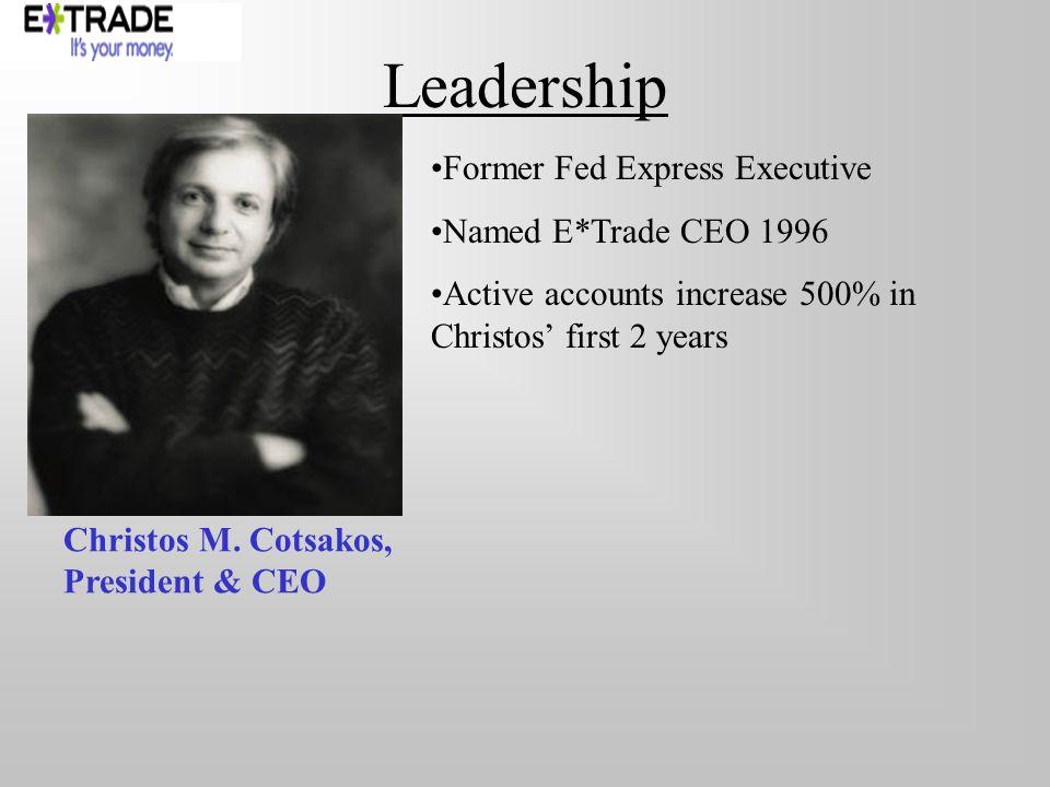 Leadership Christos M. Cotsakos, President & CEO Former Fed Express Executive Named E*Trade CEO 1996 Active accounts increase 500% in Christos first 2