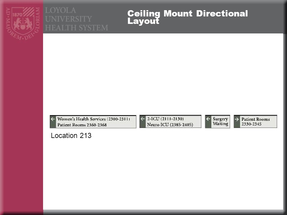 Ceiling Mount Directional Layout Location 213
