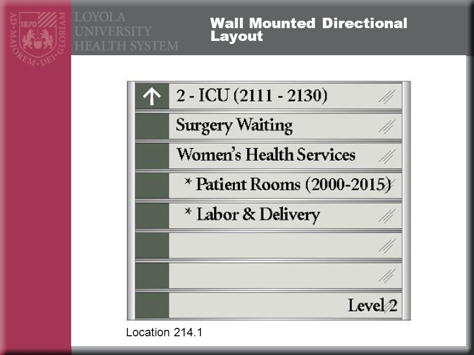 Wall Mounted Directional Layout Location 214.1