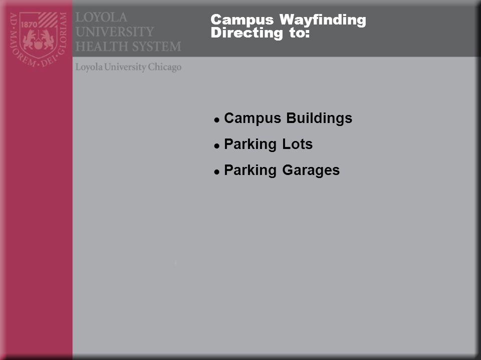 Campus Wayfinding Directing to: Campus Buildings Parking Lots Parking Garages