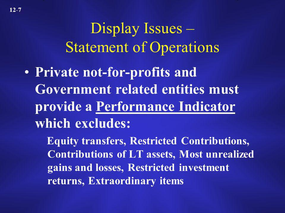 12-7 Display Issues – Statement of Operations Private not-for-profits and Government related entities must provide a Performance Indicator which excludes: Equity transfers, Restricted Contributions, Contributions of LT assets, Most unrealized gains and losses, Restricted investment returns, Extraordinary items
