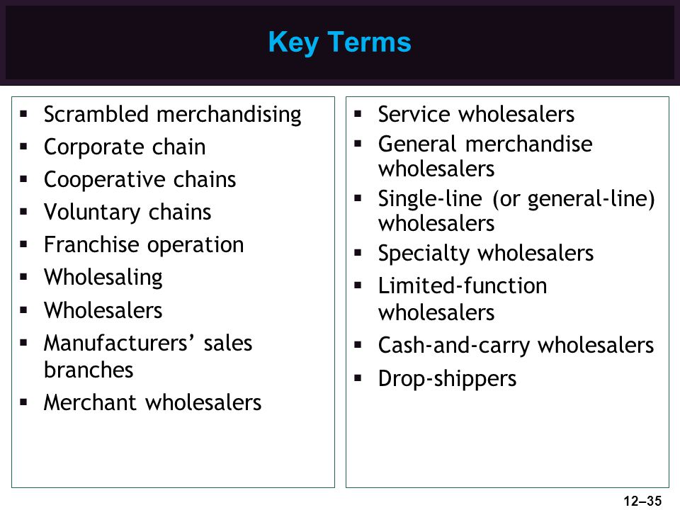 Key Terms Scrambled merchandising Corporate chain Cooperative chains Voluntary chains Franchise operation Wholesaling Wholesalers Manufacturers sales
