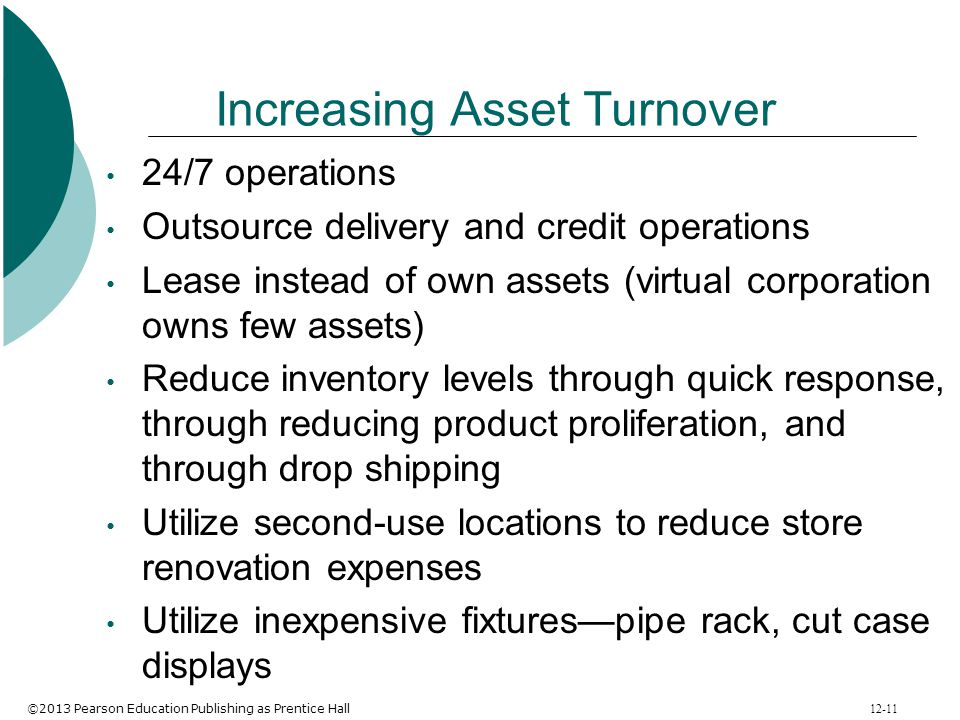 ©2013 Pearson Education Publishing as Prentice Hall 12-11 Increasing Asset Turnover 24/7 operations Outsource delivery and credit operations Lease ins