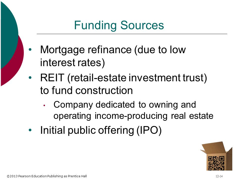 ©2013 Pearson Education Publishing as Prentice Hall 12-14 Funding Sources Mortgage refinance (due to low interest rates) REIT (retail-estate investmen