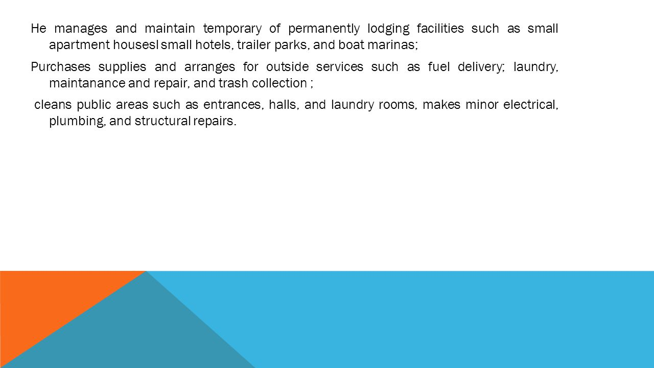 LODGING FACILITIES MANAGER