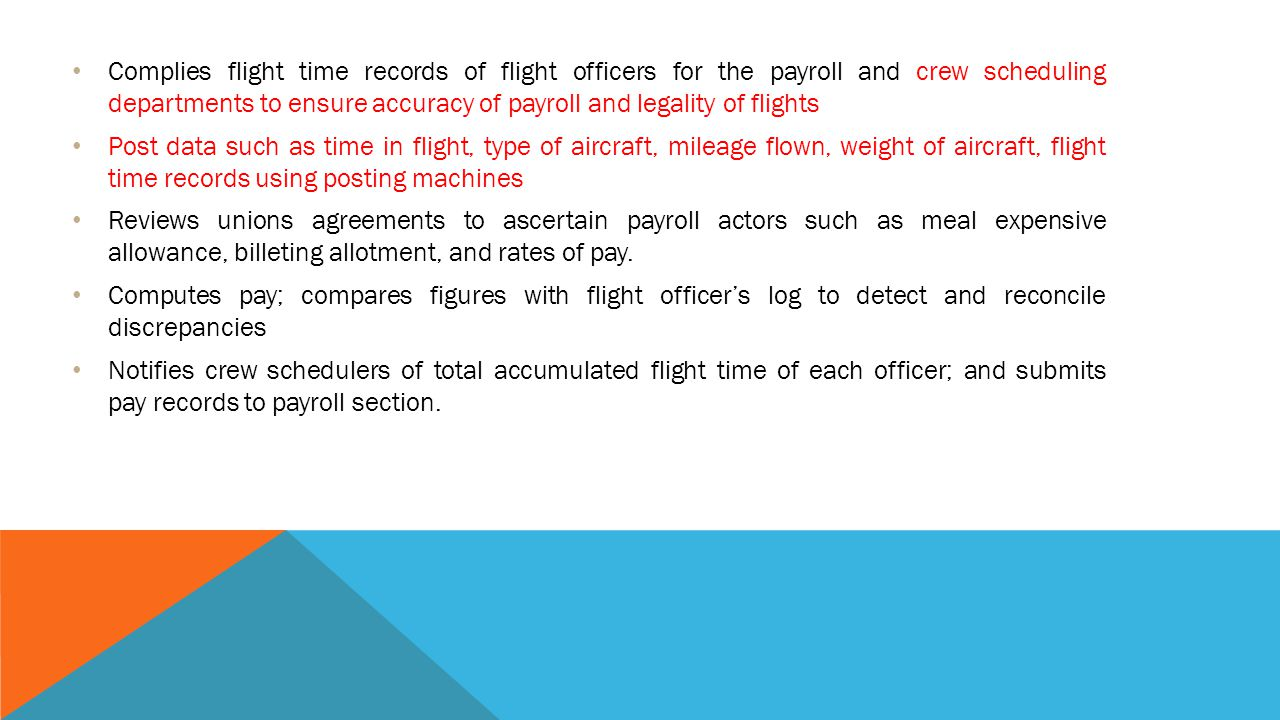 FLIGHT CREW- TIME CLERK