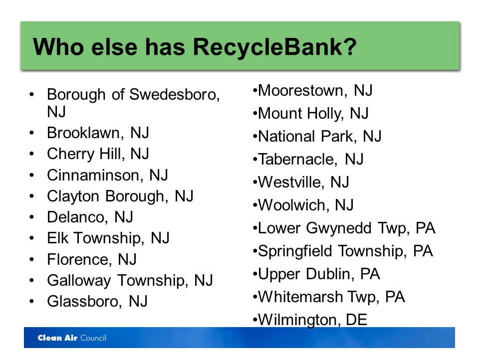 Who else has RecycleBank.