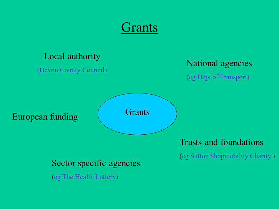 Grants Local authority (Devon County Council) European funding Trusts and foundations (eg Sutton Shopmobility Charity ) Sector specific agencies (eg The Health Lottery) National agencies (eg Dept of Transport)
