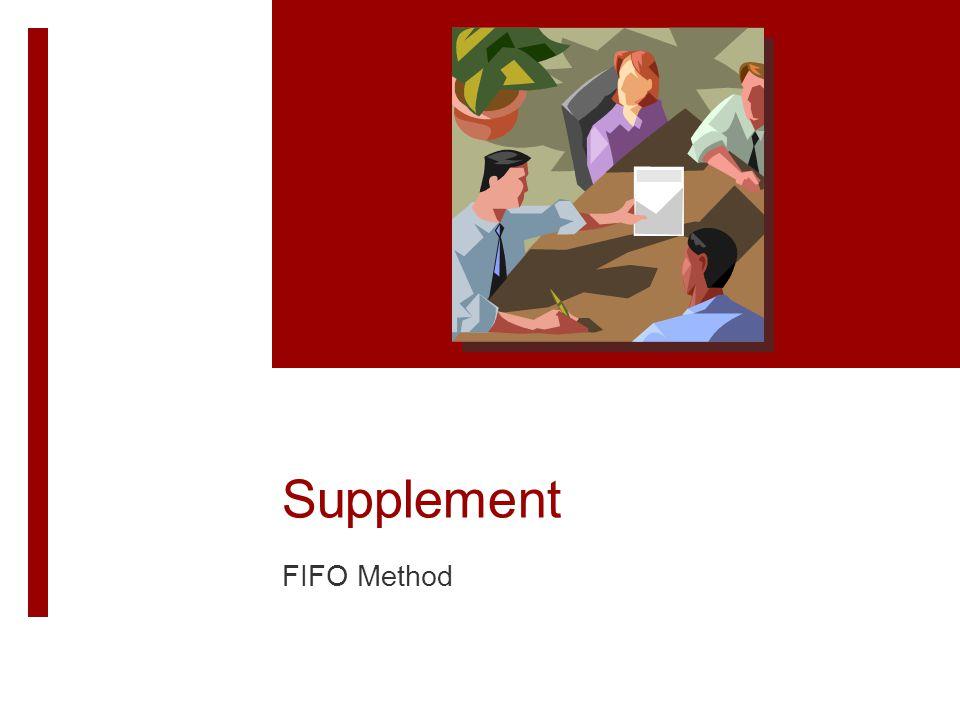 Supplement FIFO Method