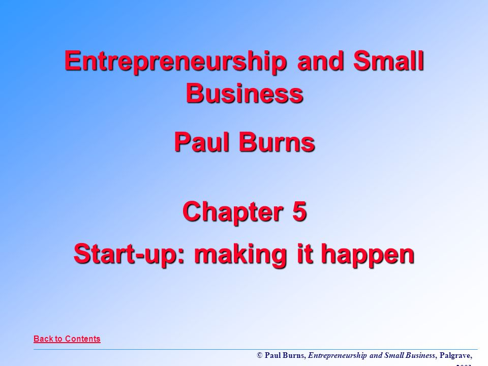 © Paul Burns, Entrepreneurship and Small Business, Palgrave, 2001 Chapter 5 Start-up: making it happen Entrepreneurship and Small Business Paul Burns Back to Contents