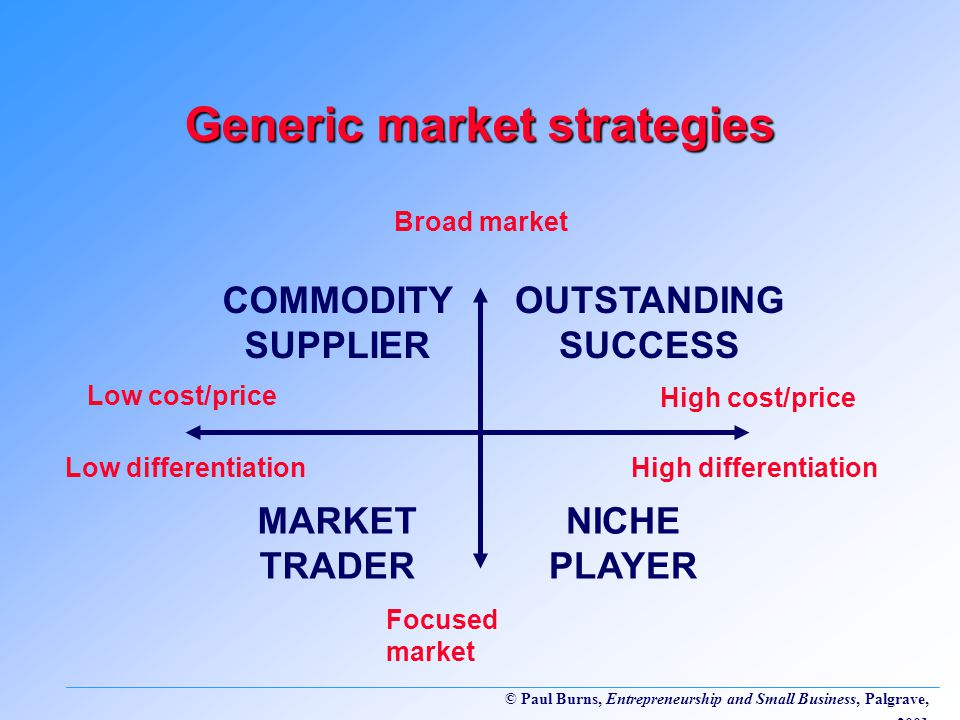 © Paul Burns, Entrepreneurship and Small Business, Palgrave, 2001 Generic market strategies COMMODITY SUPPLIER NICHE PLAYER OUTSTANDING SUCCESS MARKET TRADER Broad market Focused market Low cost/price Low differentiation High cost/price High differentiation
