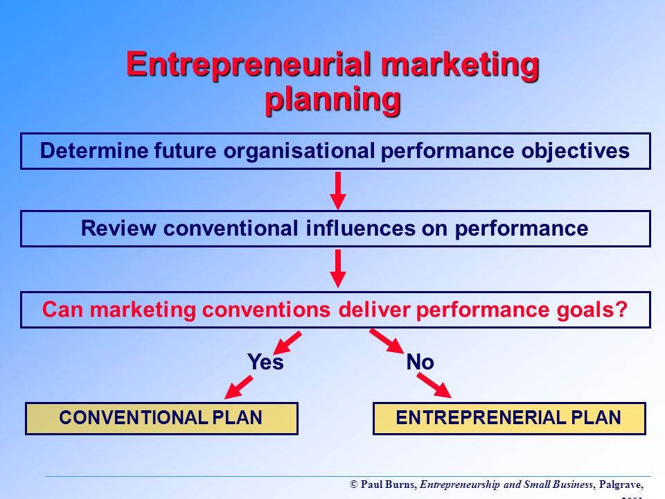 © Paul Burns, Entrepreneurship and Small Business, Palgrave, 2001 Entrepreneurial marketing planning Determine future organisational performance objectives Review conventional influences on performance Can marketing conventions deliver performance goals.