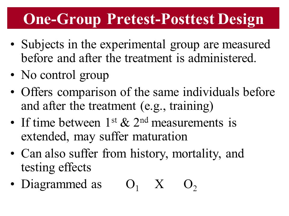 One-Group Pretest-Posttest Design Subjects in the experimental group are measured before and after the treatment is administered. No control group Off