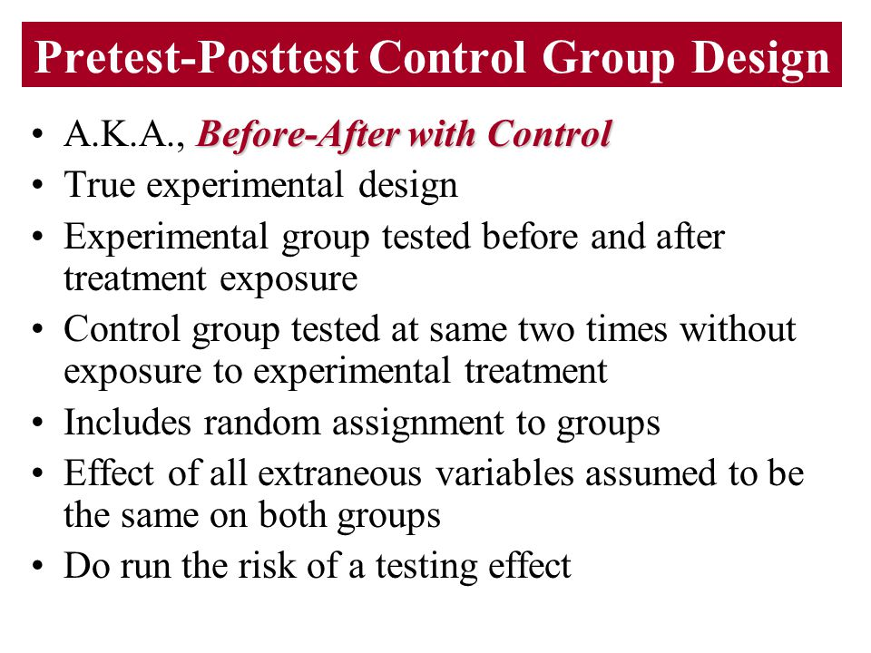 Pretest-Posttest Control Group Design Before-After with ControlA.K.A., Before-After with Control True experimental design Experimental group tested be