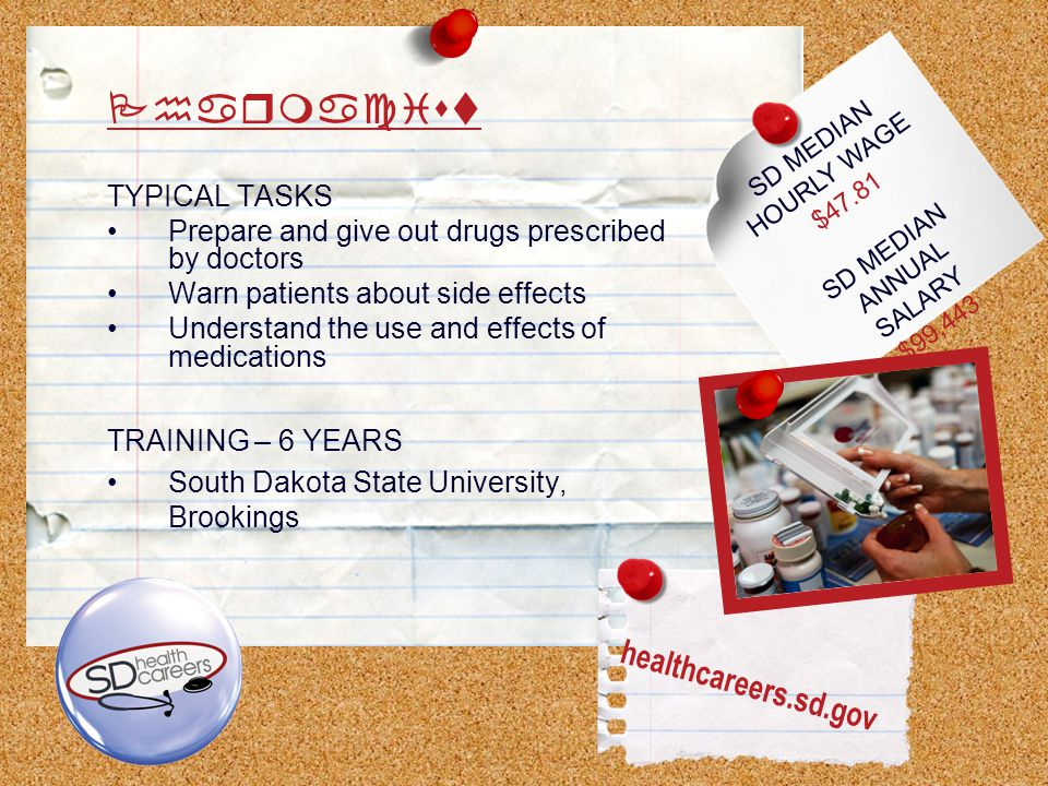 SD MEDIAN HOURLY WAGE $47.81 SD MEDIAN ANNUAL SALARY $99,443 Pharmacist TYPICAL TASKS Prepare and give out drugs prescribed by doctors Warn patients about side effects Understand the use and effects of medications TRAINING – 6 YEARS South Dakota State University, Brookings