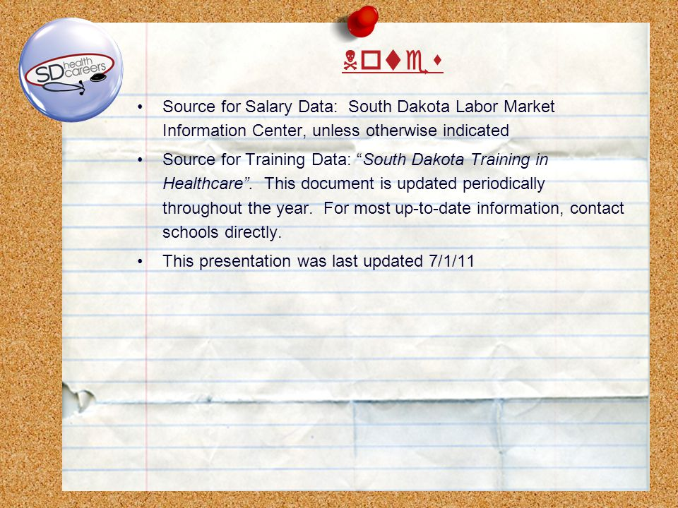 Source for Salary Data: South Dakota Labor Market Information Center, unless otherwise indicated Source for Training Data: South Dakota Training in Healthcare.