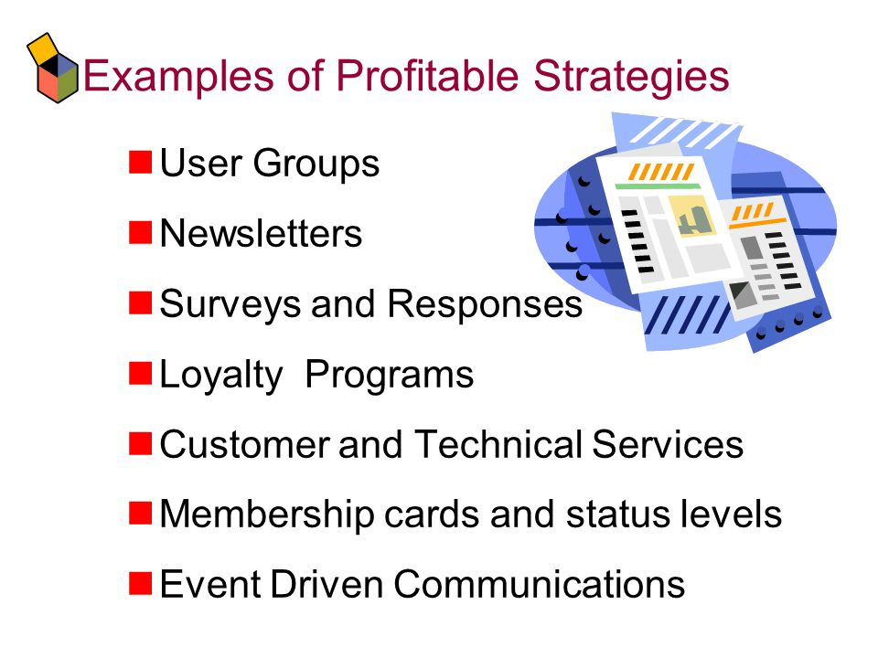 Examples of Profitable Strategies User Groups Newsletters Surveys and Responses Loyalty Programs Customer and Technical Services Membership cards and status levels Event Driven Communications