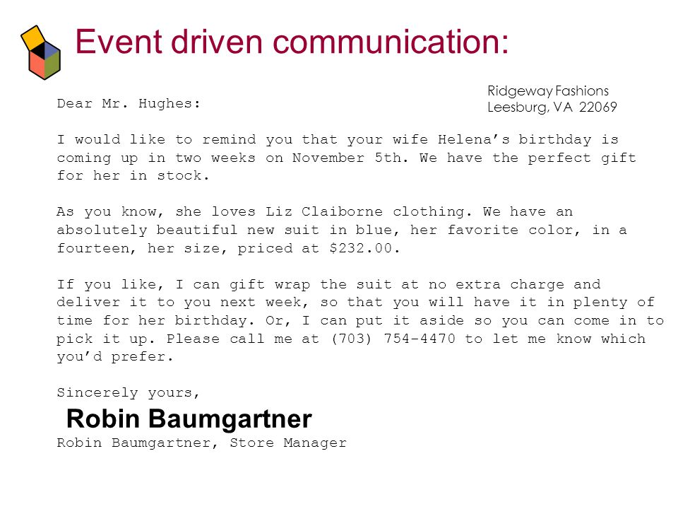Event driven communication: Dear Mr.