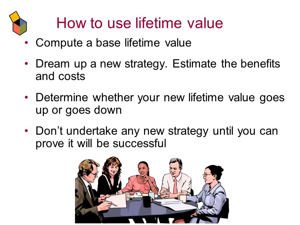How to use lifetime value Compute a base lifetime value Dream up a new strategy.