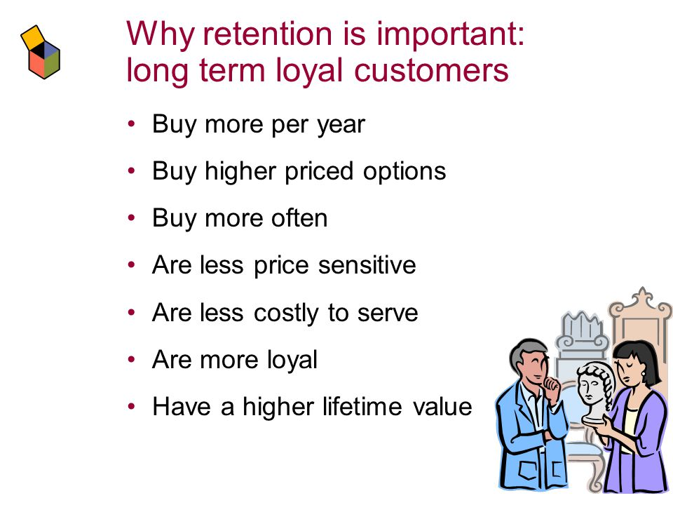 Why retention is important: long term loyal customers Buy more per year Buy higher priced options Buy more often Are less price sensitive Are less costly to serve Are more loyal Have a higher lifetime value