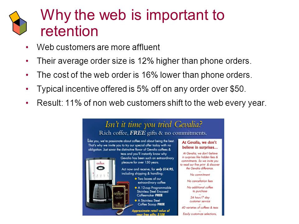 Why the web is important to retention Web customers are more affluent Their average order size is 12% higher than phone orders.