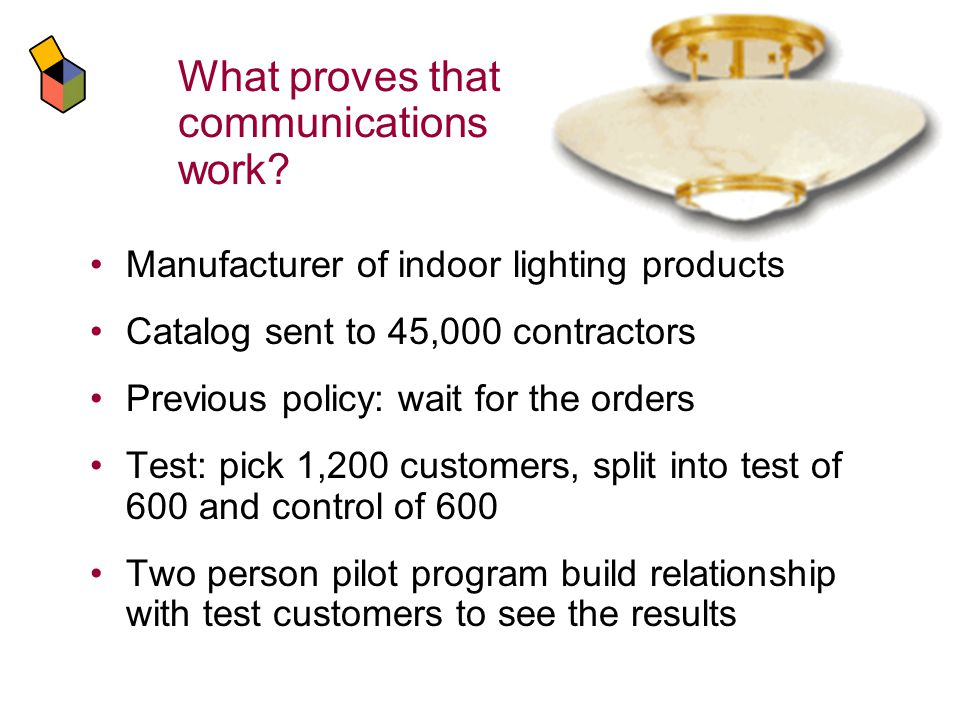 Manufacturer of indoor lighting products Catalog sent to 45,000 contractors Previous policy: wait for the orders Test: pick 1,200 customers, split into test of 600 and control of 600 Two person pilot program build relationship with test customers to see the results What proves that communications work