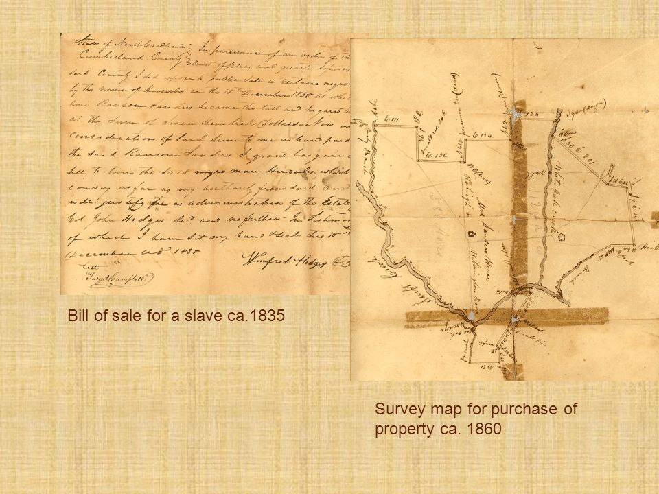 Bill of sale for a slave ca.1835 Survey map for purchase of property ca. 1860