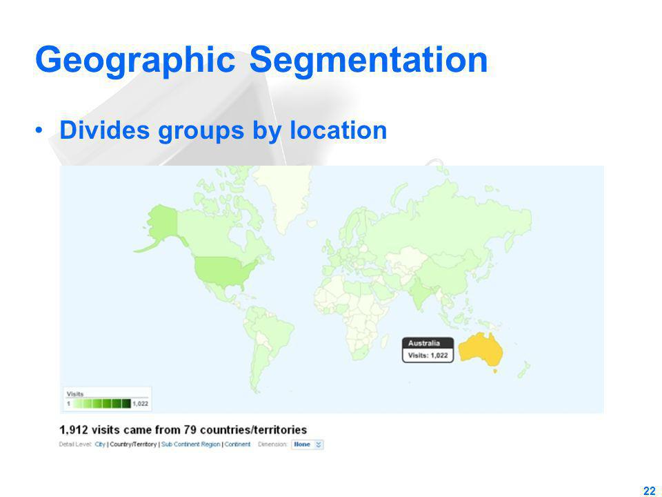Geographic Segmentation Divides groups by location 22