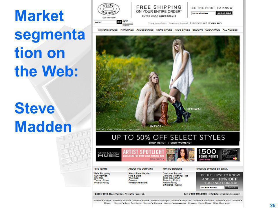 Market segmenta tion on the Web: Steve Madden 25