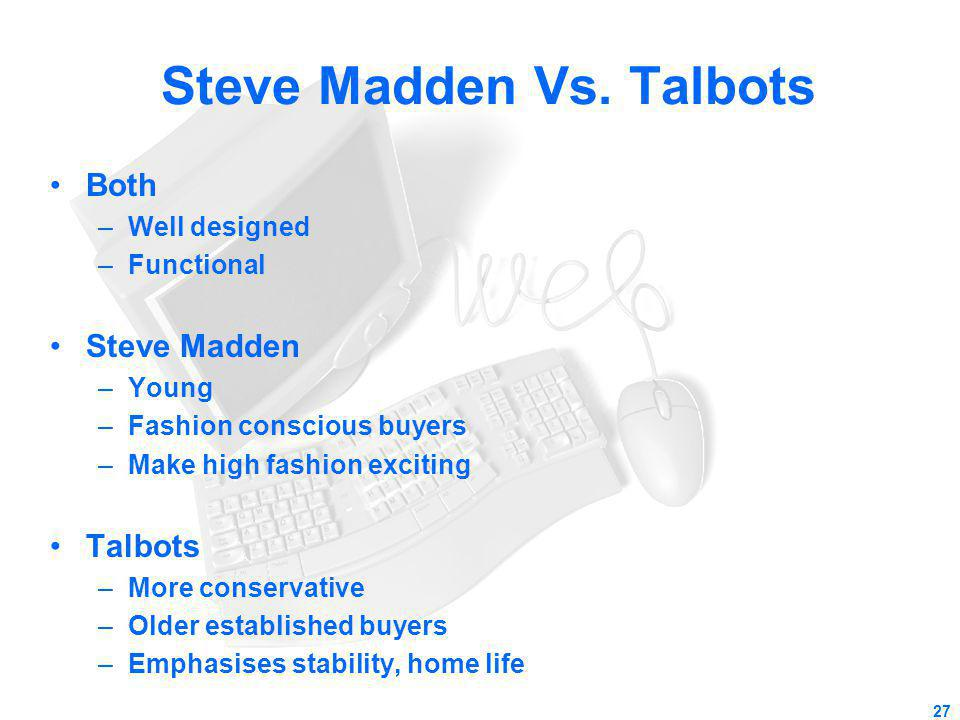 Steve Madden Vs. Talbots Both –Well designed –Functional Steve Madden –Young –Fashion conscious buyers –Make high fashion exciting Talbots –More conse