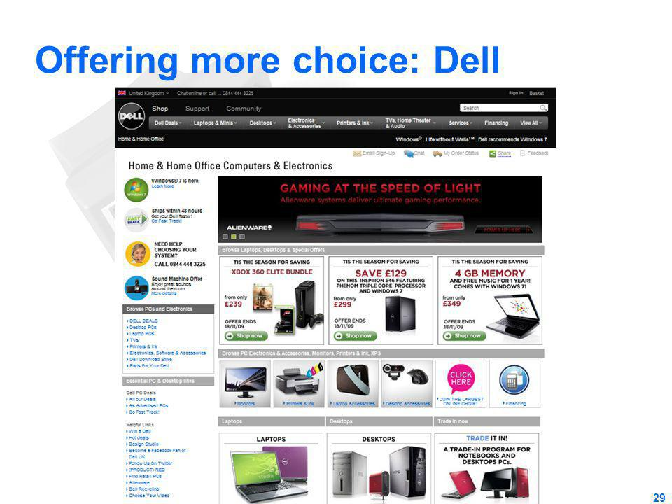 Offering more choice: Dell 29