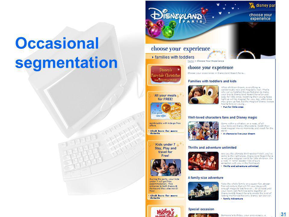 Occasional segmentation 31