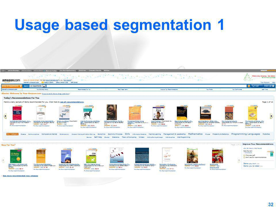 Usage based segmentation 1 32