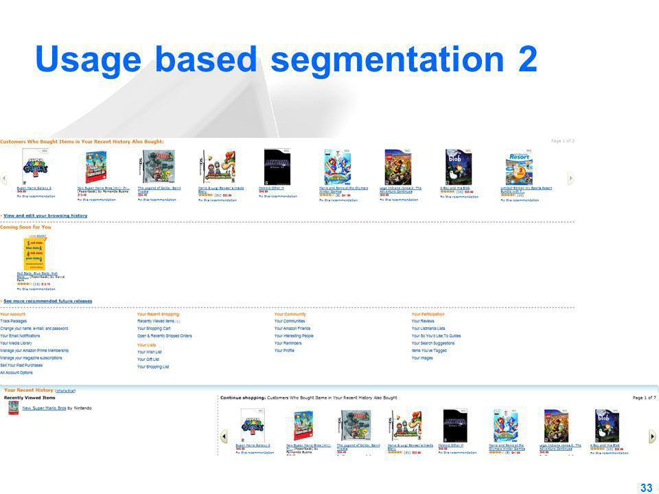 Usage based segmentation 2 33
